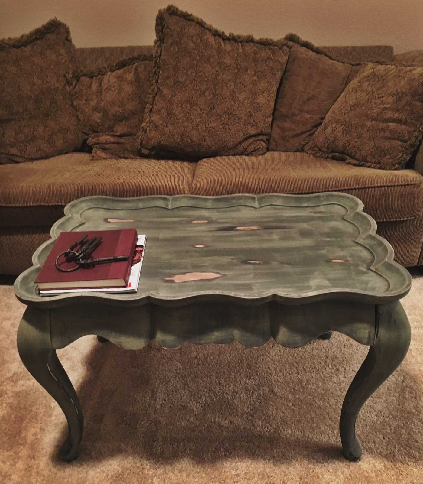 Distressed Olive Green Coffee Table